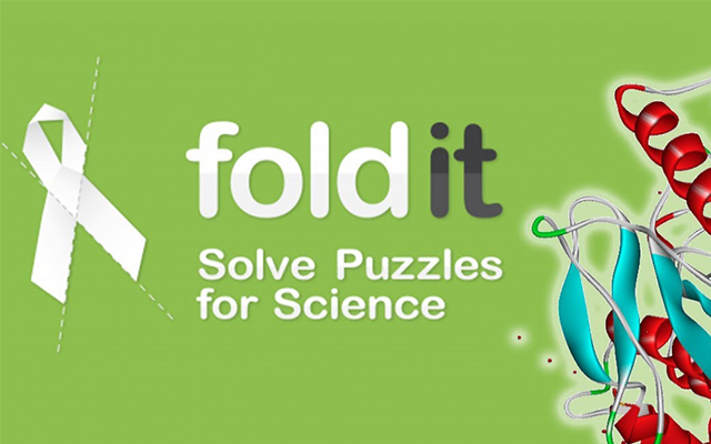"Schriftzug ""foldit Solve Puzzles for Science"""